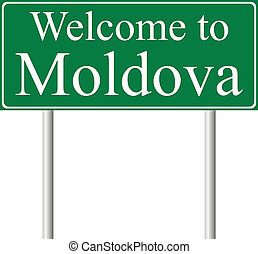 Welcome to Moldova, concept road sign