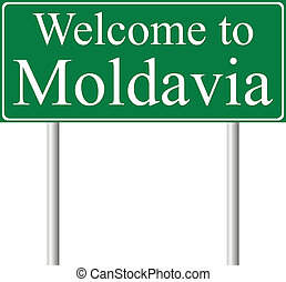 Welcome to Moldavia, concept road sign