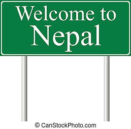 Welcome to Nepal, concept road sign