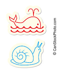 Icons - Whale and Snail Icons on White