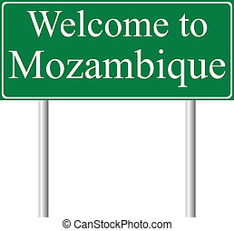 Welcome to Mozambique, concept road sign isolated on white...