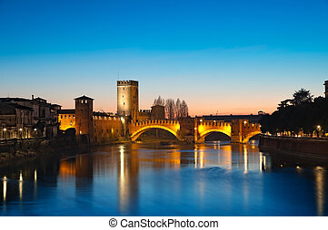 Castelvecchio, Verona - Italy - Castelvecchio at night.