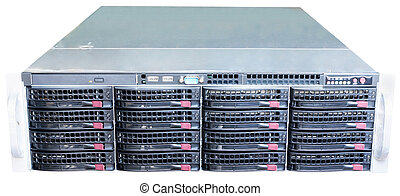 Rackmount server isolated - Rack mount server front view...