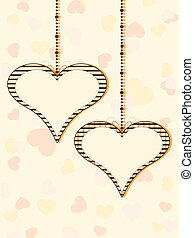 Vector illustration of two hanging heart shapes with copy...