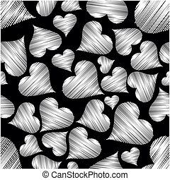vector illustration with seamless pattern of heart shape on...
