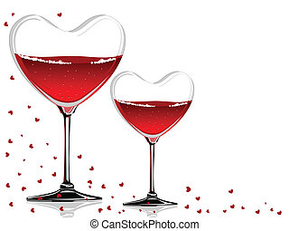 Vector illustration of a wine glass in a heart shape with red wine on white background concept for Valentines Day.