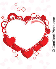 Abstract heart shape frame made with red heart and copy...
