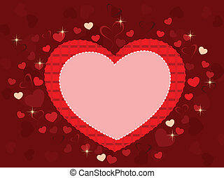 Vector illustration of a heart shape frame in red color with...