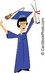 female grad in blue gown and cap holding diploma high in air