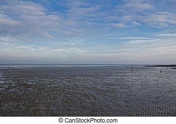 Wadden Sea, sky and clouds - The picture shows the Wadden...