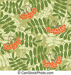 background of red rowan seamless pattern - Vector background...
