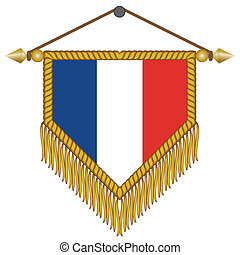 vector pennant with the flag of France - vector pennant with...