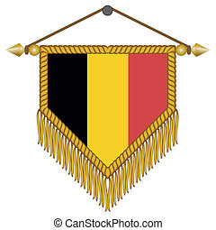 vector pennant with the flag of Belgium - vector pennant...