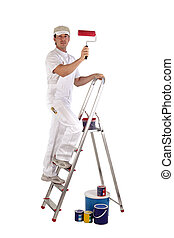 Decorator painting wall red