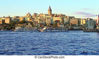 istanbul galata timelapse - view of istanbul galata...