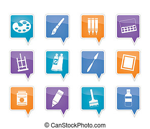painter, drawing and painting icons -  vector icon set