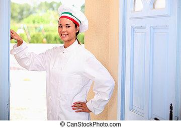 cozinheiro, campainha, tocando