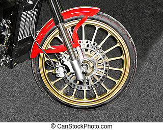 wheel of a motorcycle
