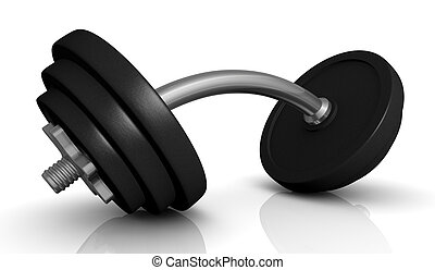 dumbbell - one dumbbell with bent handle (3d render)