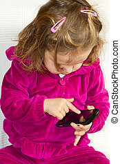 little baby girl with mobile phone
