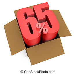 percent icon - one open carton box with the 65 percent rate...