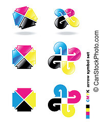 CMYK arrow symbol set.
