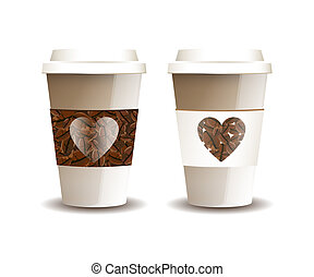 Love coffee - Two takeaway coffee cups with beans and hearts...