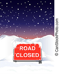 Road closed night - A Road Closed sign due to heavy...
