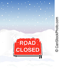 Road closed - A Road Closed sign due to heavy snowfall....