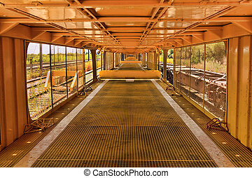 Yellow Tunel - Perspective from inside of yellow cargo wagon