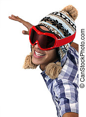 Young man in a snow hat and goggles