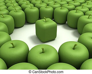 Original apple - Green apple of the cubic form in an...