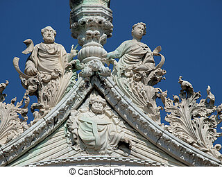 Venice - fine architectural details from the upper facade of...