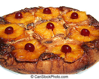 Pineapple Upside Down Cake Isolated - Closeup of Pineapple...