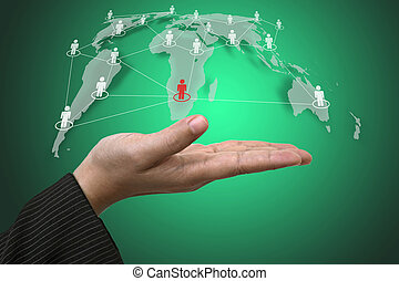 Hand Hold World Social Network - Business Hand Hold Person...