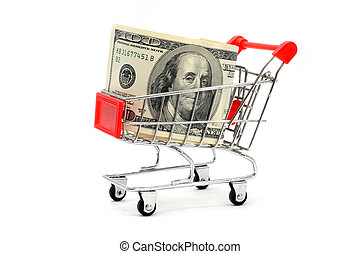 Money Shopping - Money Dollar Cash Banknote in Trolley...
