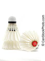 Badminton Shuttlecock Sport Equipment on White Background...