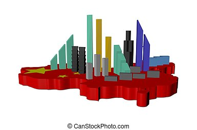 abstract skyscrapers on China map flag