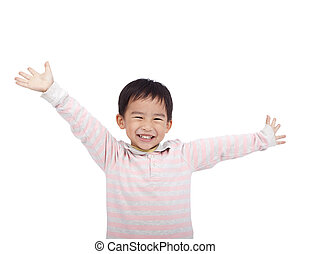 happy asian boy raising hand
