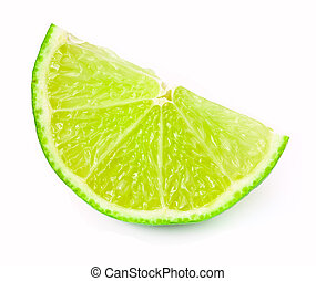 Lime slice - Slice of fresh lime over white background