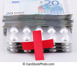 Red Cross - A Red Cross with a wad of 20 Euro bills and...