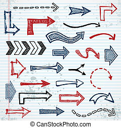 Sketchy arrows - Set of sketched arrow shapes on notepad...