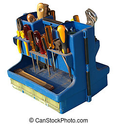 Tool box with tools and industrial steel hardware bolts,...