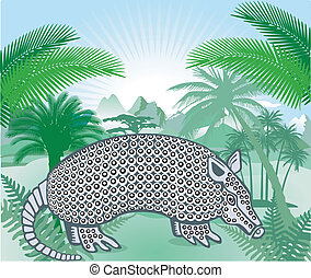 Armadillo in the Americas tropical forest