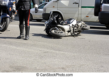 Scooter crash in the urban street