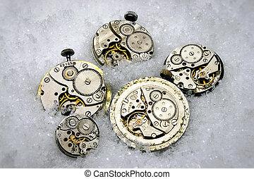 Clockworks - Metal clock mechanisms lie in the snow