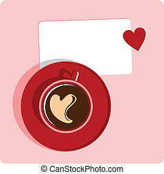 coffe cup love - cup of coffee with hart and a sticker