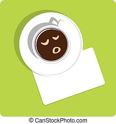 coffe cup sleep - cup of coffee with sleeping smile and a...