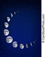 Moons and stars background - Moon crescent shaped and stars...