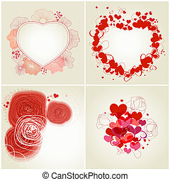 Retro greeting cards set - Romantic greeting cards set
